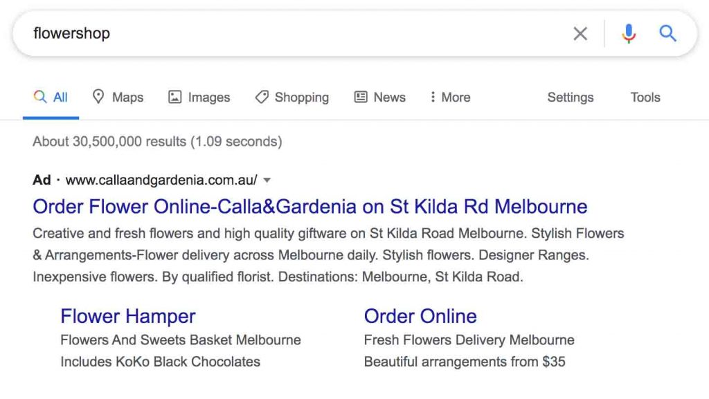 Example of Google Adwords Ad. Video Outcomes, a Melbourne based Google Adwords advertising company specialising in Google Search ads.