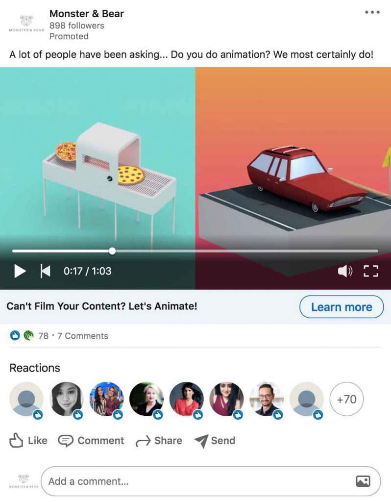 Melbourne based Video Outcomes Linkedin Marketing Agency shows an example of LinkedIn video advertisement