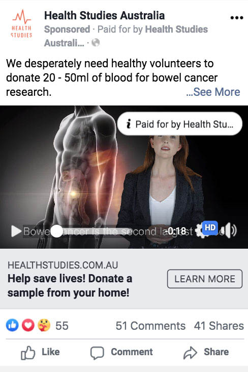Melbourne based Video Outcomes Facebook Marketing Agency shows an example of Health Studies Facebook advertisement visible on mobile phones
