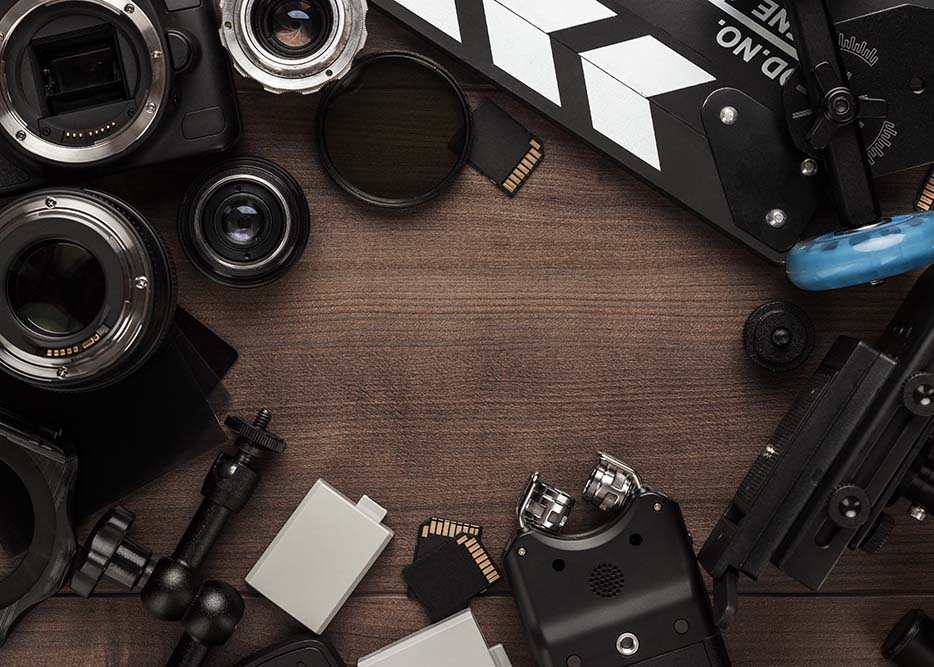 Corporate video production equipment spread on table in Melbourne