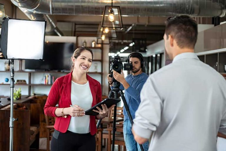 Example of Video Outcomes producer interviewing a subject for a corporate interview video