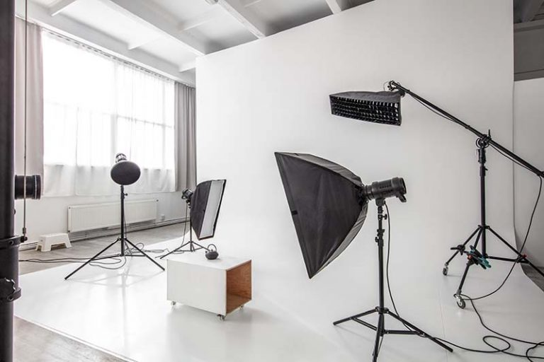 Example of corporate interview studio and backdrop