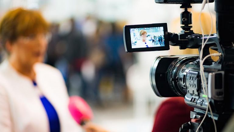 Example of video interviewee appearing on a video camera screen