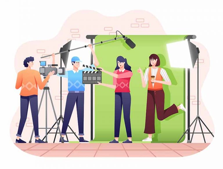 graphic of video production in studio including lighting, green screen, cameras and